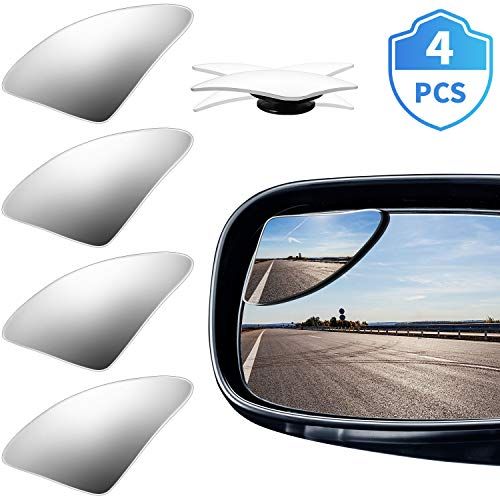 4 Pieces Blind Spot Mirror Fan-Shaped Frameless Blind Spot Side Mirror 360 Degree Rotating Design Wide Angle Mirror HD Glass Safety Convex Rearview Mirror