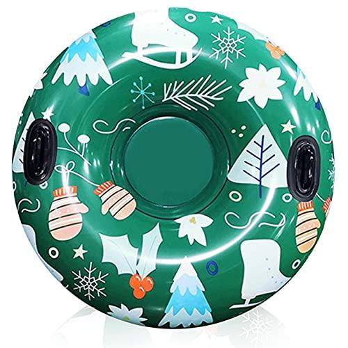 FASZFSAF 47 inch Schneereifen, Snow Tube für Erwachsene Kinder, Aufblasbare Schlitten mit Griffen, Ideal für Winter Outdoor Spaß,Grün,Diameter 120cm