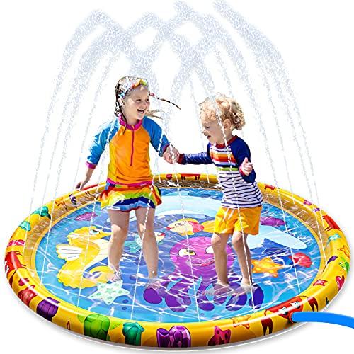 JOYIN Sprinkler Splash Play Mat Kids Outdoor Splash Pad Water Sprinkler Toys 60