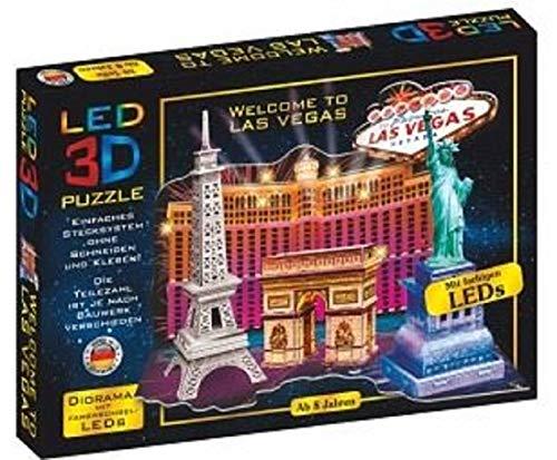 Bavaria Home Style Collection 3D Puzzle LED Diorama Puzzle Städte Reise 51 Teile Made in Germany I 3D Leuchtpuzzle Bauwerke mit farbwechselnden LEDs für Kinder ab 8 und Erwachsene (Las Vegas Reise)