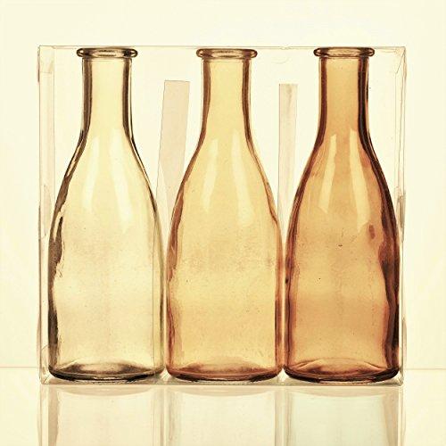 Unbekannt Sandra Rich. Glas VASE Bottle groß. 3 kleine Flaschen ca 18,5 x 6,5 cm. Orange - GELB. 1165-18-30