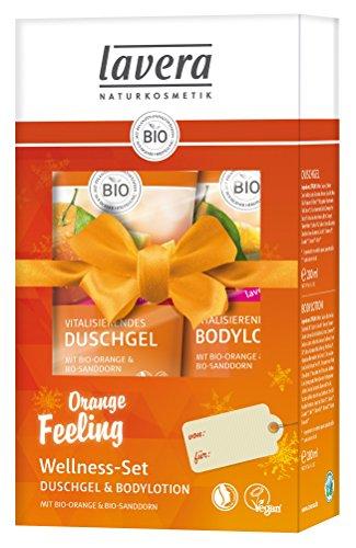 lavera Pflegeset ∙ Vitalisierendes Duschgel & Bodylotion Orange im Kosmetik Set ∙ vegan ✔ Bio Pflanzenwirkstoffe ✔ Naturkosmetik ✔ Körperpflege Geschenkset 1er Pack (1x2 Stück)
