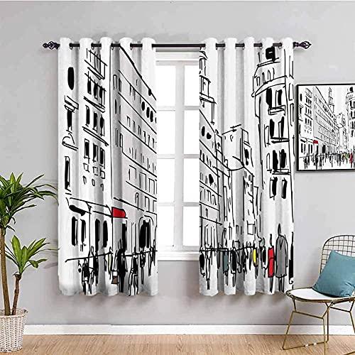 LTHCELE Opacas Cortinas Dormitorio - Abstracto Negro Blanco Calle - Impresión 3D Aislantes de Frío y Calor 90% Opacas Cortinas - 234 x 229 cm - Salon Cocina Habitacion Niño Moderna Decorativa