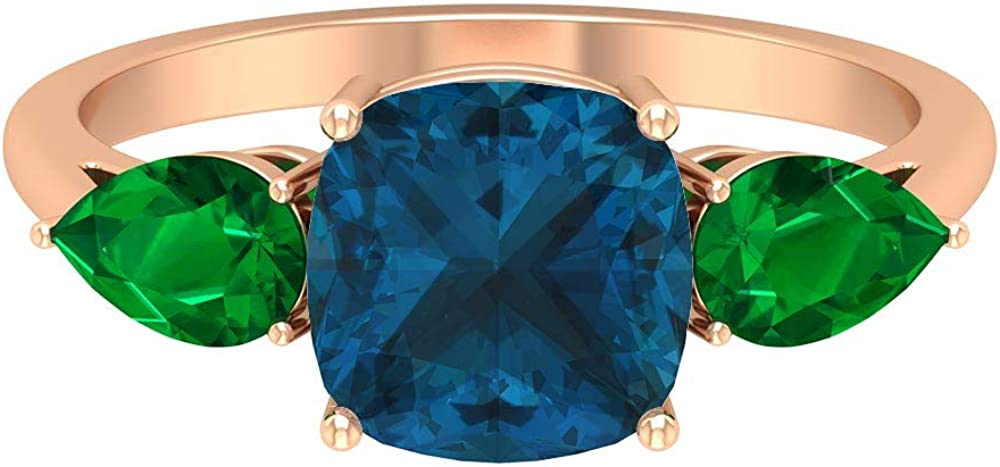 8 MM Cushion Cut London Blue Topaz Ring, 4X6 MM Pear Shaped Emerald Ring, Three Stone Gold Engagement Ring (AAA Quality), 14K Gold