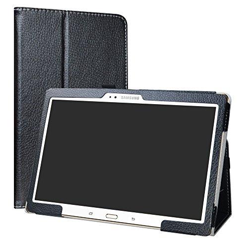 Samsung Galaxy Tab S 10.5 hülle,LiuShan Folding PU Leder Tasche Hülle Hülle mit Ständer für Samsung Galaxy Tab S 10.5 T800 T805 (10,5 Zoll) Android Tablet,Schwarz