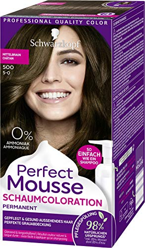 SCHWARZKOPF PERFECT MOUSSE Permanente Schaumcoloration 500 Mittelbraun Stufe 3, 3er Pack (3 x 92,5 ml)