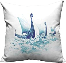 YouXianHome Print Bed Pillowcases Portrait Vik Drakkars Rough Sea Wood Ships Sc Avian Washable and Hypoallergenic(Double-Sided Printing) 20x20 inch