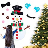 Brightown Felt Christmas Snowman for Toddlers, 30 Pcs Cute Christmas Ornaments Kit with Hook and Loop Nativity Set Crafts Gifts, for Kids DIY Christmas Home Door Classroom Hanging Wall Decorations