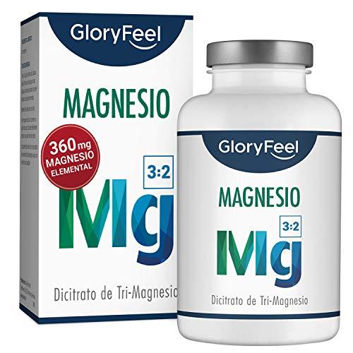 GloryFeel® Citrato de Magnesio - 360 mg Magnesio Elemental - 200 Cápsulas - Función Muscular, disminuye el cansancio y la fatiga, mejora el rendimiento deportivo
