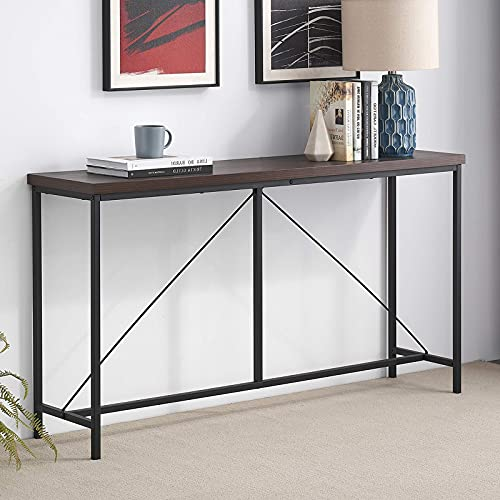 Narrow Long Sofa Table, Industrial Console Tables for Entryway, Wood and Metal Behind Couch Table, 55 Inch Espresso