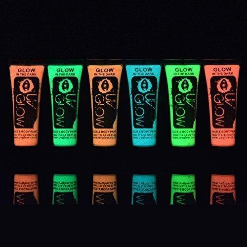 UV Glow Lot de 6 tubes de peinture Phosphorescente pour le visage et le corps 6 x 10 ml Phospho