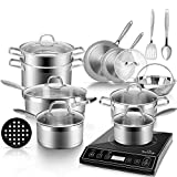 Duxtop Bundle 9100MC 1800W Portable Induction Cooktop, Induction Burner with 18PC Professional Stainless Steel Induction Cookware Set Saucepan with Pour Spout and Strainer Lid, Impact-Bonded Technoloy