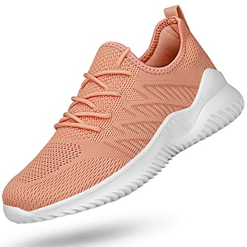 Feethit Womens Slip On Running Shoes with Shoelace Slip Resistant Walking Shoes Lightweight Workout Fashion Sneakers Peach Size 10