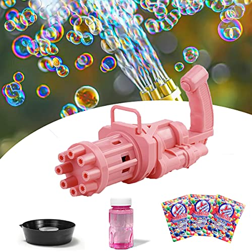 Bubble Blaster, Gatling Bubble Machine, 8-Hole Bubble Gun Automatic Bubble Blower with 3 Pack Bubble Solution Refill for Bubble Toys and Outdoor Toy for Kids, Boys, Girls (Pink)