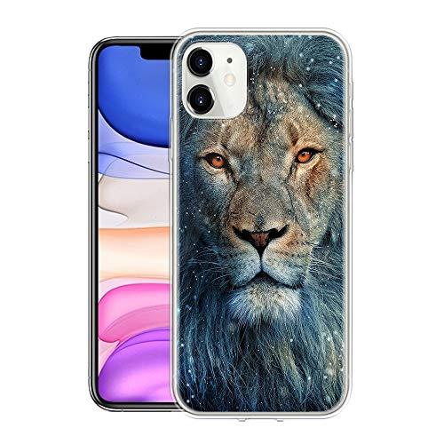 Pnakqil Funda para LG K42 6.6' Transparente Silicona con Dibujos Carcasa Piel Gel TPU Diseño Ultra Fina Suave Antigolpes Protectora Case Cover para LGK42, León Azul