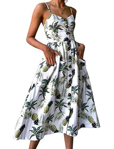Damen Spaghetti Kleid V Ausschnitt A-Linie Kleid Rückenfreies Kleider Elegant Sommerkleider Strandkleider Frauen Träger Midikleid Abendkleider Partykleid(Weiß XL)