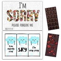 """DA CHOCOLATE キャンディーお土産SORRYチョコレートセット1箱7.2x5.2 """"3オンス各チョコレート4x2"""" (DARK Strawberry Date Cherry)"""