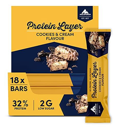 Multipower Protein Layer Bar Energieriegel mit 32 % Protein – Fitnessriegel 18 x 50 g – Proteinriegel als Sport-Snack – Eiweißriegel mit Cookies and Cream Geschmack – kalorienarmer Eiweißriegel