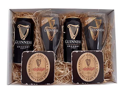 Guinness Geschenkpaket mit Bier, Original Gläsern und Untersetzern
