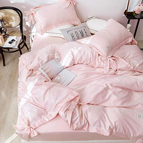 Parure Copripiumino Matrimoniale Jade,Bedding Set Luxury Satin Silk Double King Size Bed,Quilt Duvet Cover Fitted Bed Sheet Bedcloth 1.8m Bed