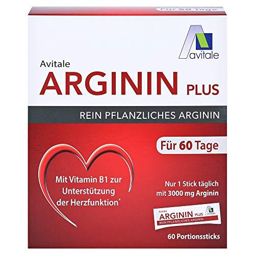 Avitale Arginin plus Sticks zur Herstellung einer Trinklösung mit 3000 mg rein pflanzlichem Arginin, Vitamin B1, B6, B12 und Folsäure, 354 g