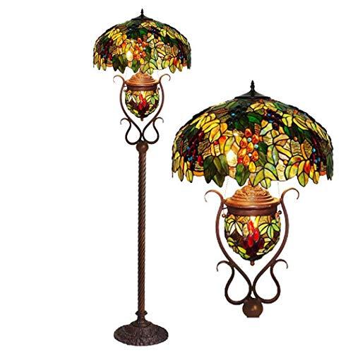 DSHBB vloerverlichting, 20 inch - schroefstijl-vloerlamp in de stijl van Stained glas met glasbescherming en pull-schakelaar, standing light voor woonkamers, bar, slaapkamer, E27 * 2 40W