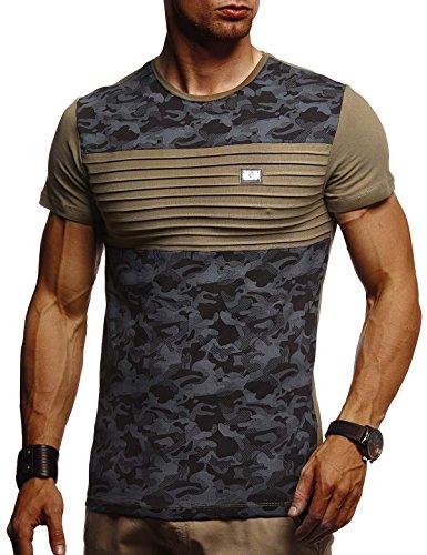 Leif Nelson Herren Sommer T-Shirt Rundhals-Ausschnitt Slim Fit Baumwolle-Anteil Moderner Männer T-Shirt Crew Neck Hoodie-Sweatshirt Kurzarm lang LN405 Khaki-Schwarz Small