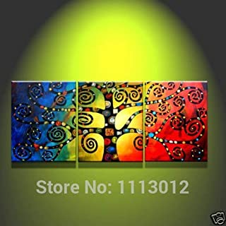 DIU Hand Painted On Canvas Home Wall Decoration Oil Painting Color Life Tree 3 Panel Set Modern Abstract Pictures For Livi...