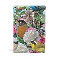 ブックカバー 文庫 a5 皮革 レザー カラフルな鳥柄 白い花 バラ 文庫本カバー ファイル 資料 収納入れ オフィス用品 読書 雑貨 プレゼント