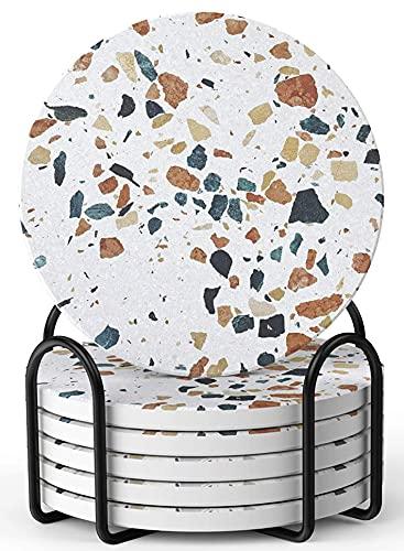 Lifver posavasos absorbentes para bebidas, estilo mármol con soporte, evita que los muebles se rayen y se ensucien, regalo de inauguración de la casa para decoración del hogar, 4 pulgadas, juego de 6
