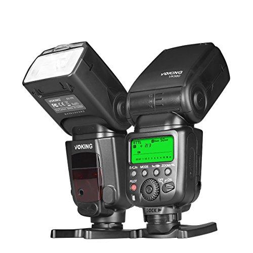 Voking VK580 E-TTL Professional Master Slave Speedlite Shoe Mount Flash for Canon EOS 70D 80D Rebel T7i T6i T6 T5i T5 T4i T3i SL2 EOS R and Other EOS Digital DSLR Camera with Standard Hot Shoe Stand