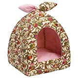 Hollypet Self-Warming 2 in 1 Foldable Comfortable Triangle Cat Bed Tent House, Creamy