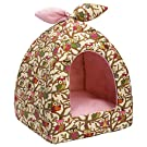 Hollypet Self-Warming 2 in 1 Foldable Comfortable Triangle Owl Cat Bed Tent House