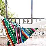 LMDY Décoration de La Maison Couverture Mexicaine Style Table Bannière Nappe Serviette De Plage Multi-Fonction Arc-en-Ciel Couverture Vert [120 * 180 CM] 570g