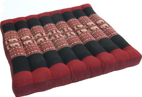 Guru-Shop Cuscino di Seduta, Cuscino da Pavimento, Tappetino da PavimentoThai, in Kapok, 50x50 cm - Rosso/nero, Sedile - Cuscini a Terra