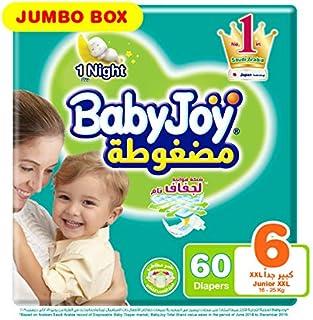 Babyjoy Compressed Diamond pad Diaper, Jumbo Box Junior XXL Size 6, Count 60, 16+ KG