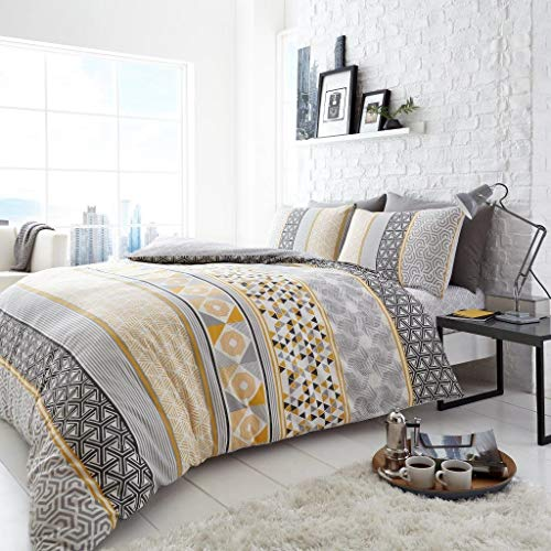 HELSBY MUSTARD YELLOW GREY DUVET COVER SET DOUBLE QUILT