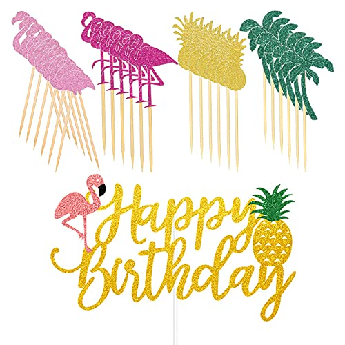 Tropical Hawaiian Cake Toppers Glittery Flamingo Pineapple Coconut Tree Cupcake Toppers Happy Birthday Cake Picks, for Tropical Luau Hawaii Summer Party Decorations