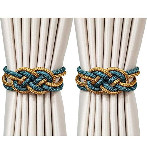 Magnetic Curtain Tiebacks for Drapes Sheer Curtains Blackout Curtain Tie Woven Curtain Holdback Rope Farmhouse Curtain Tiebacks Outdoor Indoor Window Curtain Decorations (Blue & Gold)