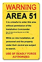 なまけ者雑貨屋 Area 51 ヴィンテージ風 ライセンスプレート メタルプレート ブリキ 看板 アンティーク レトロ