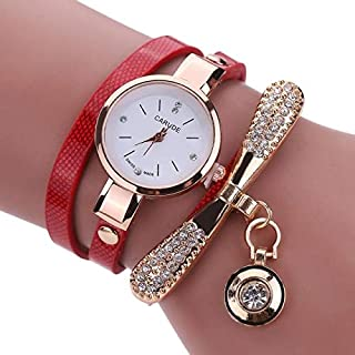 Fashion Fashion Women Casual Bracelet Leather Band Watch(Beige) Personality (Color : Red)
