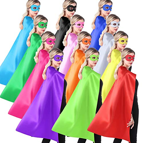 ADJOY Superhero Capes and Masks for Teenagers, Adult, Girls and Boys, Team Spirit Building Capes - 12 Sets Mixed Colors