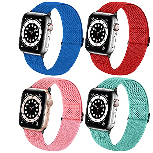 Neoxik Soft Nylon Braided Elastic Watch Bands Compatible with Apple Watch 40mm 38mm,Adjustable Sport Breathable Wrist Strap for iWatch Series 6 5 4 3 2 1 SE