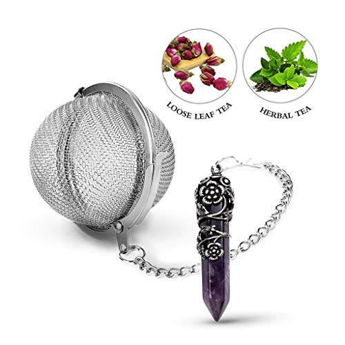 Purchase Taygate Healing Crystal Pendant Loose Tea Leaf Strainer,Antique Silver Flower Wrapped Natur...