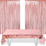 Rose Gold Foil Fringe Tinsel Curtain 2 Pieces and Foil Tablecloth 1m*2.7m, Rose Gold Birthday Party Decoration, for Ideal Bachelorette/Graduation/Wedding/Baby Shower