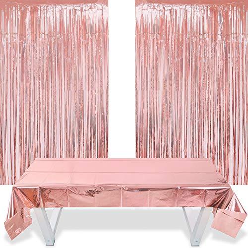 2 Cortinas Flecos Oro Rosa y 1 Funda de Papel de Aluminio de Rosegold Mantel Metálico (1m x 2,7m) para Mesas, Bodas, Fiestas de Novia, Compromisos, Baby Shower, Fondo de Fotos de Navidad