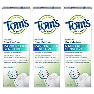 HELPS PREVENT TARTAR BUILDUP: Contains 3 - 4-ounce tubes of rapid relief sensitive toothpaste in fresh mint flavor. Toms toothpaste provides relief in 60 seconds and long-lasting protection NATURALLY-DERIVED INGREDIENTS: Toms natural toothpaste uses ...
