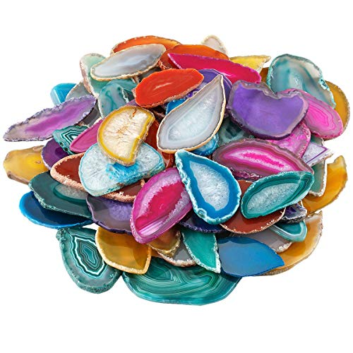 mookaitedecor - 12 unidades de arandelas de ágata natural pulidas irregulares de ágata con piedras preciosas para bodas, multicolor