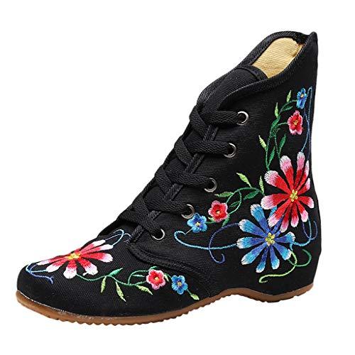 Stiefel Damen Westernabsatz Kurzschaft Schnürstiefel Blumen Bestickt Stiefeletten High-top Steigern Sie innerhalb Schnürsenkel Schuhe (39.5 EU, Schwarz)