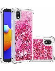 Lijc Compatible con Funda Samsung Galaxy A01 Core Destello Arenas Movedizas Líquidas Cuatro Esquinas Anti-Caída TPU Parachoques Silicona Blanda Anti-Corazón Rosa